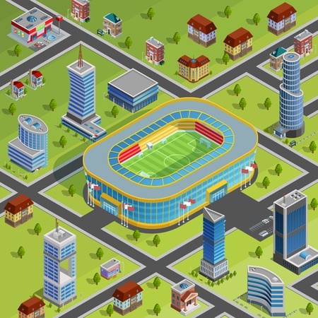competitions: Modern sport complex stadium facility for games championships competitions in city center environment isometric poster vector illustration