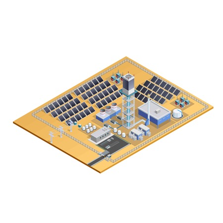 control centre: Model of solar station complex with mirror plates tower transformers control centre and parking isometric vector illustration
