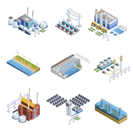 Isometric images set of different types of electricity generation plants from gas turbine to solar isolated vector illustration