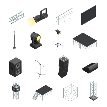 Isometric icons set of stage elements different stands with microphones spotlights speakers and construction isolated vector illustration