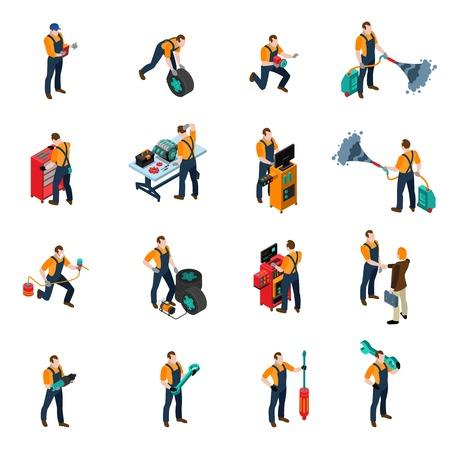 Auto service isometrische pictogrammen instellen met mensen en apparatuur symbolen geïsoleerde vector illustratie
