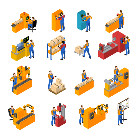 assembly: Los trabajadores de fábrica iconos isométricos conjunto con la ilustración vectorial símbolos de producción aislada