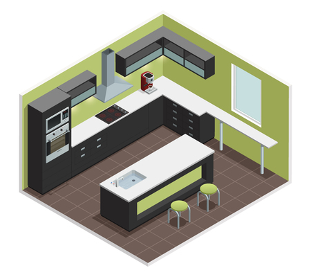 kitchen island: Modern kitchen interior isometric view with counter stove range cooker oven  shelves refrigerator and cabinets vector illustration