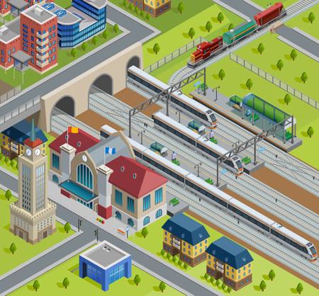Città terminal ferroviario piattaforma pista manifesto isometrica con edificio della stazione tradizionale e passeggero moderni treni illustrazione vettoriale Vettoriali