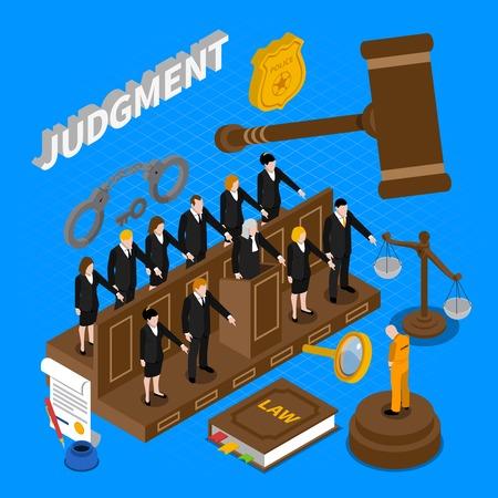 jurado: Color composici�n isom�trica que representa a los presos preventivos de la ilustraci�n del vector del jurado Vectores
