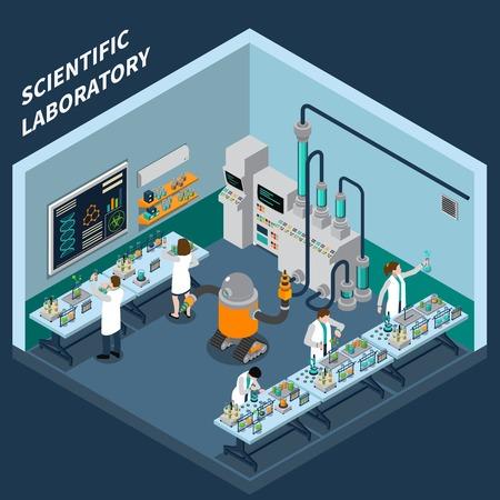 Concepto de la ciencia isométrica con símbolos de laboratorio sobre fondo azul ilustración vectorial