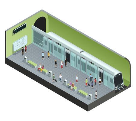 Kolor isometric pojęcie przedstawia stację metru z pociągiem i ludzie wektor ilustraci Ilustracje wektorowe