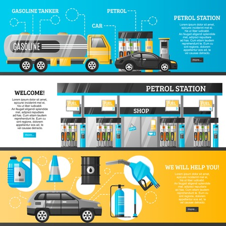 Petrol station flat horizontal banners with refuelling stands cars shop filling gun gasoline track icons vector illustration
