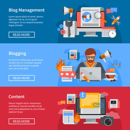content writing: Horizontal blogging and blog management flat banners with blogger sharing content isolated vector illustration