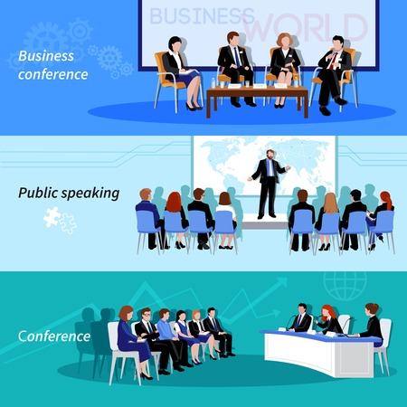 result: Business conference public speaking 3 flat horizontal vectors set with whiteboard result presentations abstract isolated vector illustration