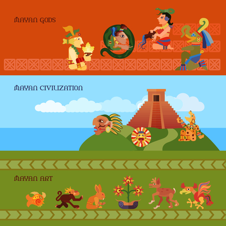 civilization: Maya horizontal banners set with gods civilization and art symbols flat isolated vector illustration