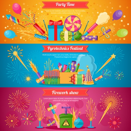 pyrotechnics: Horizontal flat pyrotechnics festival isolated banners with colorful crackers and balloons for firework show vector illustration
