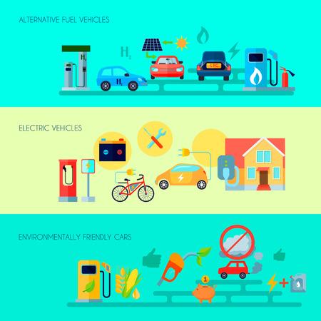 Alternative energy horizontal banners set with alternative fuel vehicles symbols flat isolated vector illustration Illustration