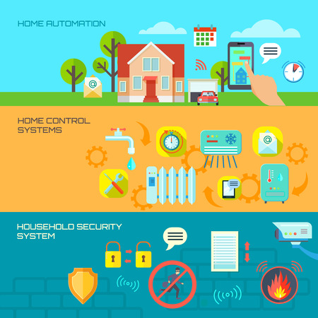 control system: Smart house horizontal banners set with home control system symbols flat isolated vector illustration