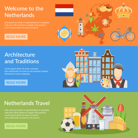 dutch landmark: Horizontal colorful netherlands travel flat banners with map dutch national symbols costumes cuisine and architecture isolated vector illustration Illustration