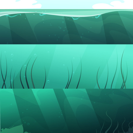 Ocean blue green water 3 horizontal banners set with light rays and seaweeds abstract isolated vector illustration