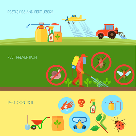 Pesticides and fertilizers horizontal banners set with pest control symbols flat isolated vector illustration