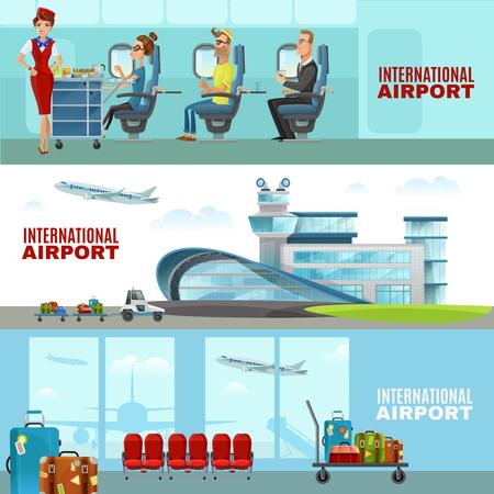 国際空港待合室のインテリアとスチュワーデスと乗客航空機キャビン平面ベクトル図の水平方向のバナー