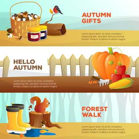 log basket: Bright horizontal banners with autumn vegetables mushrooms birds and forest walk flat isolated vector illustration