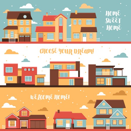 mansard: Cottage and village houses horizontal banners in cartoon style on cloud sky background flat vector illustration Illustration