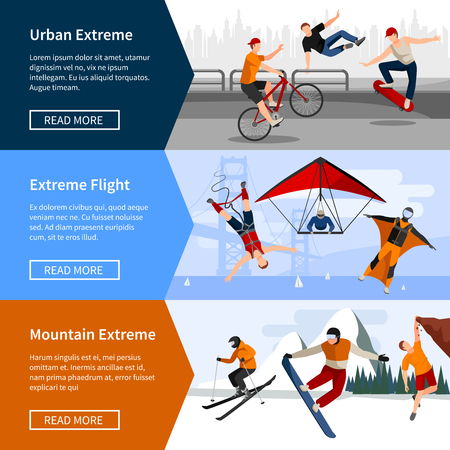 parkour: Colorful horizontal banners with people doing extreme sports such as parkour paragliding and snowboarding isolated vector illustration Illustration