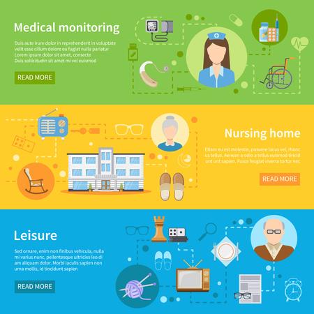 高齢者医療を監視するためツールと水平方向のバナーを特別養護老人ホームにおけるケアし、無料時間要素フラット ベクトル図
