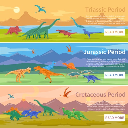 bipedal: Dinosaurs flat horizontal banners set of design backgrounds with groups of giant ancient pangolins lived millions years ago vector illustration Illustration