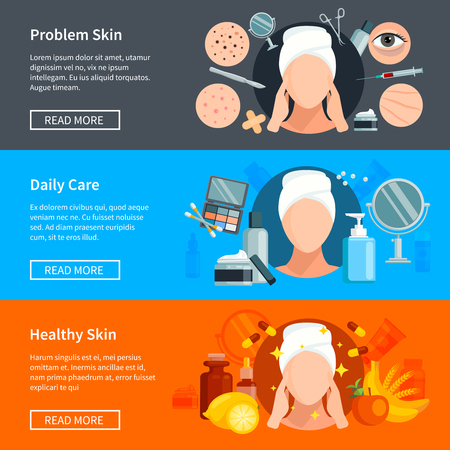 beauty salons: Skin care flat horizontal banners with problem skin treatments daily cosmetics and healthy skin design elements vector illustration Illustration