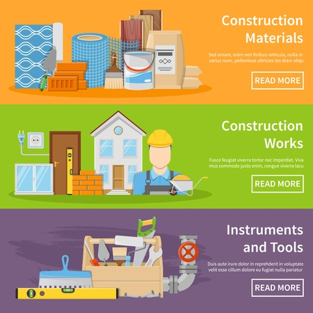 construction materials: Horizontal construction materials works instruments and tools flat banners isolated vector illustration