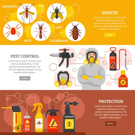 pest control equipment: Pest control horizontal banners with insects icons repellent spray cans collection exterminator in protective equipment and uniform flat vector illustration