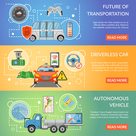 Horizontal colorful future of transportation driverless car autonomous vehicle isolated flat banners vector illustration