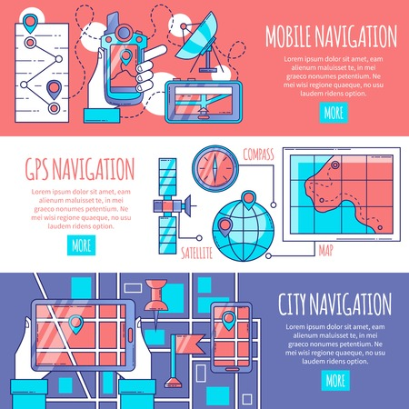 routing: Navigation horizontal banners set with design compositions of mobile and gps services for city routing flat vector illustration