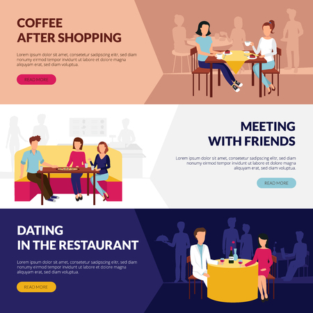 dating: Information on restaurant service 3 flat banners webpage design with coffee bar dating abstract isolated vector illustration