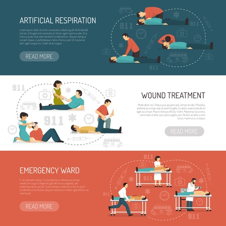 cpr: First aid 3 flat horizontal banners design with breathing respiratory assistance and emergency ward isolated vector illustration