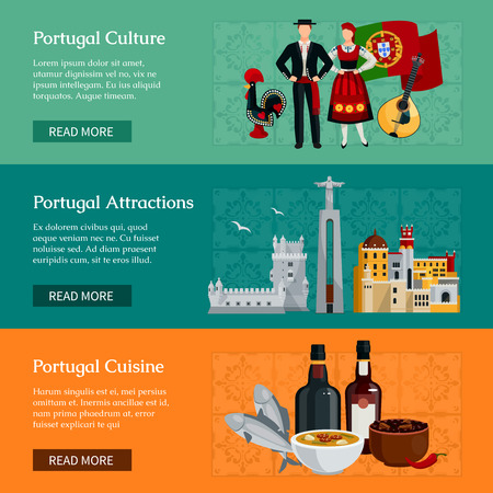redeemer: Horizontal flat banners presenting elements of portugal culture attractions and cuisine isolated vector illustration
