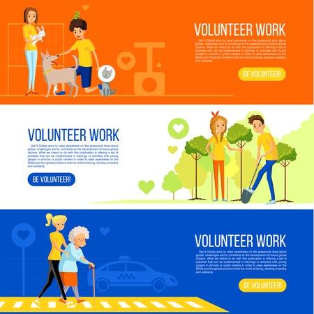 obra social: Jardinería y trabajo social activa y el cuidado de los ancianos y los animales tarjetas de larga ilustración vectorial Vectores