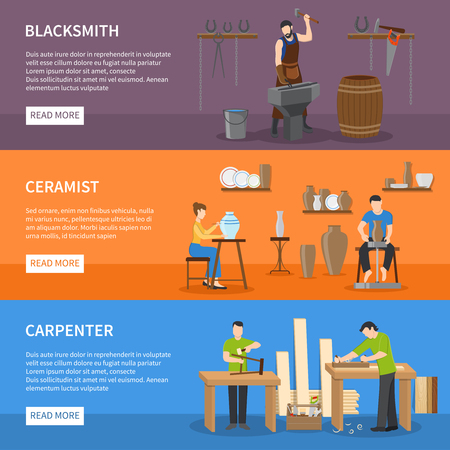 craftsman: Horizontal colorful craftsman flat isolated banners with people having professions of blacksmith carpenter and ceramist vector illustration