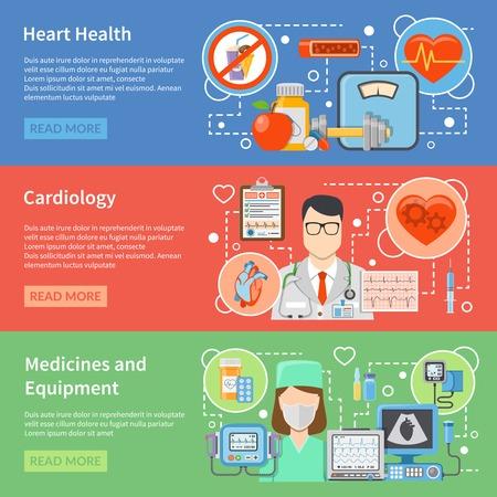 Horizontale Kardiologie flache Banner mit Medikamenten und Ausrüstung für die Behandlung von Themen und Lifestyle für Herz Gesundheit isoliert Vektor-Illustration
