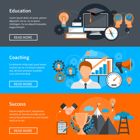 Horizontal mentoring coaching banners with concepts for skills development on colorful backgrounds flat isolated vector illustration Vector Illustration