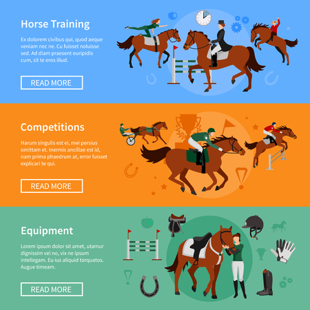 derby hat: Horse rising sport horizontal banners with elements of ammunition and riders employed in horse training and competitions vector illustration