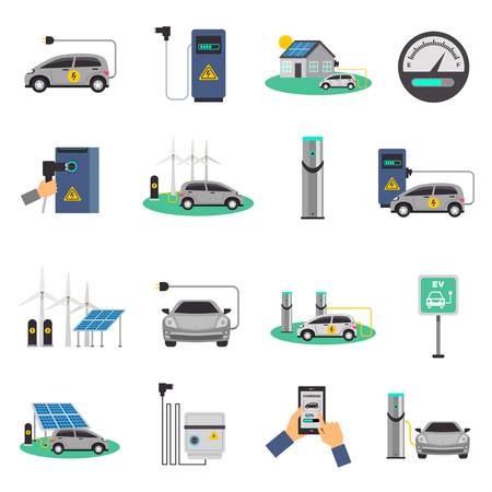 recharging: Electric car charging public network service stations and individual recharging points flat icons collection isolated vector illustration