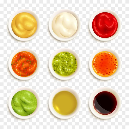 Set of color icons depicting different sauce in plate vector illustration Çizim
