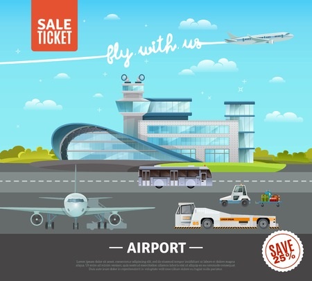 airfield: Airport flat vector illustration of terminal building technical transport on airfield plane taking off and advertising of tickets sale Illustration