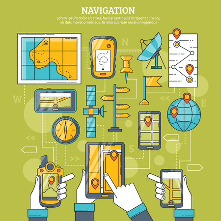 artificial satellite: Navigation vector illustration with map gps navigator artificial earth satellite and navigation app on tablet screen flat icons