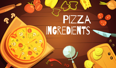 Colorful background with prepared pizza meat and vegetable ingredients and knife for cutting flat vector illustration