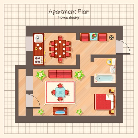 furniture home: Apartment plan top view with bathroom and living room flat vector illustration