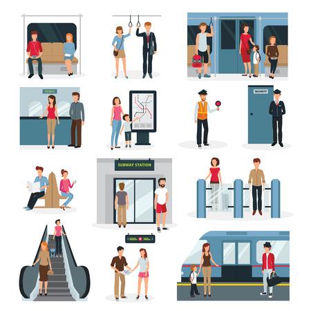 Płaska konstrukcja ustawiona z ludźmi w różnych sytuacjach w metrze samodzielnie na białym tle ilustracji wektorowych