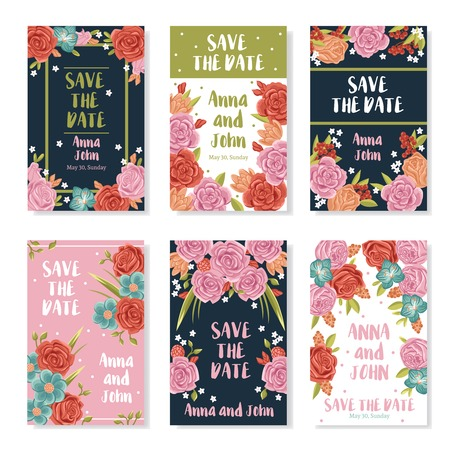 honeymooners: Wedding invitation banners with roses bouquet ornament save the date text and names of bride and groom flat vector illustration
