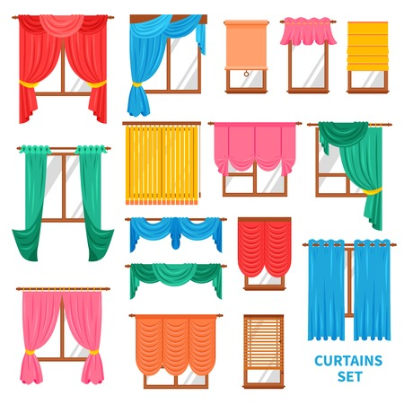 casement: Window colored curtains and blinds flat set for office and creative home interior isolated vector illustration
