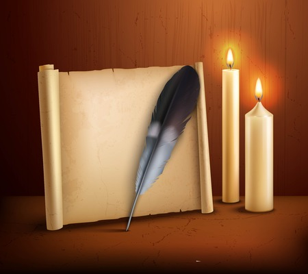 parchment paper: Parchment paper with feather and burning candles realistic aged style poster with wooden background vector illustration